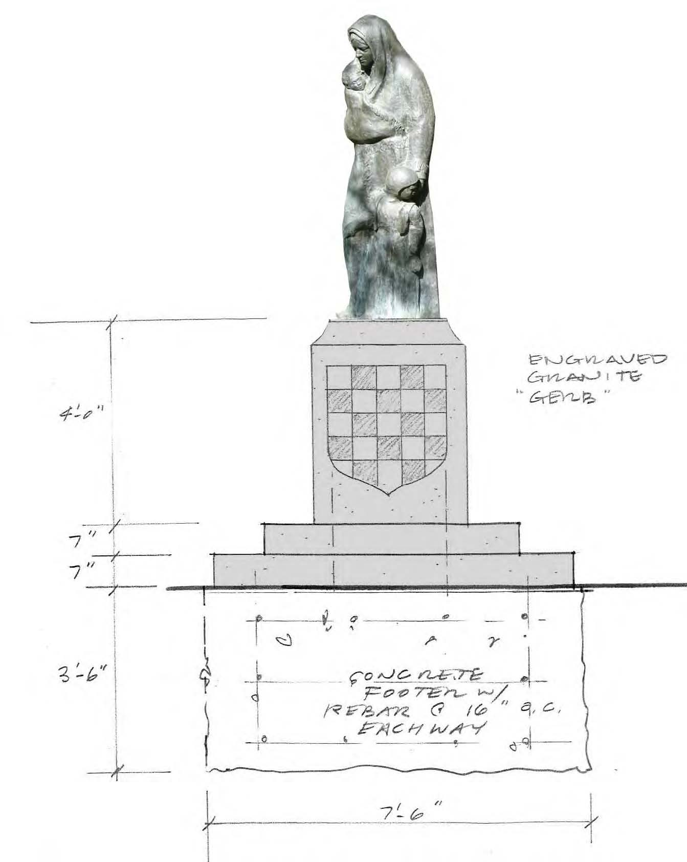 Diagram of Immigrant Mother Sculpture on Stone Base with Grb